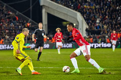 Game moments in match 1/8 finals of the Europa League royalty free stock photo