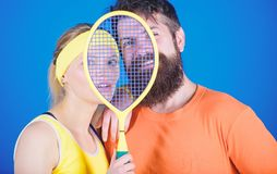 This game is more than hobby. Healthy lifestyle concept. Man and woman couple in love with tennis racket sport equipment. This game is more than hobby. Healthy royalty free stock photo