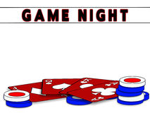 Game Night Background - Red Playing Cards/Chips Royalty Free Stock Image