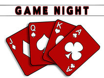 Game Night Background - Red Playing Cards Royalty Free Stock Image