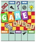 Game Night Invitation Monopoly Style with Scrabble and Dice. On checkers board fun and colorful party announcement vector illustration