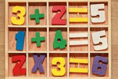 Game with numbers arithmetic operations Stock Photo