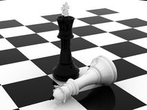 Game over. Defeat of white king 3d chess Stock Photography