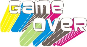 Game over. Ame over with figure in net in four different colours on white background royalty free illustration