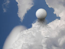 golf ball in clouds  Stock Image