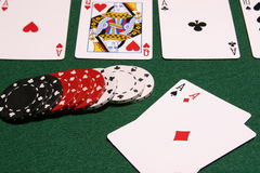 Game over. Selective focus image of winning poker cards and chips Royalty Free Stock Images