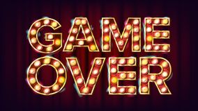 Game Over Banner Vector. Casino 3D Glowing Element. For Slot Machines, Card Games Design. Modern Illustration. Game Over Banner Vector. Casino 3D Glowing Element Stock Image