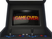 Game Over. Coin operated arcade machine with game over screen Royalty Free Stock Image