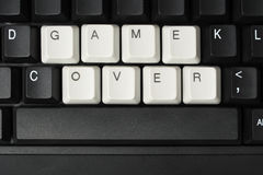 Game over. Computer keyboard with keys forming words GAME OVER stock photo