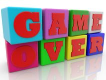 Game over concept on colorful cubes.3d illustration. In backgrounds Stock Photography