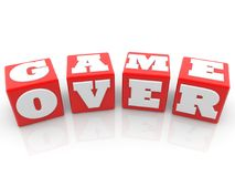 Game over concept on red cubes. In backgrounds Royalty Free Stock Photography