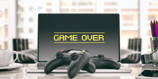Game over concept - Video games controller in an office. 3d illustration. Game over on the computer - Video games controller in an office. 3d illustration Stock Photo
