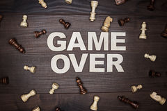 Game over concept on wooden background Royalty Free Stock Photography