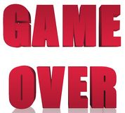 Game Over 3D Text Sign Illustration Design Over White Royalty Free Stock Image
