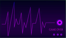 Game over - ekg graph. On dark background Royalty Free Stock Image