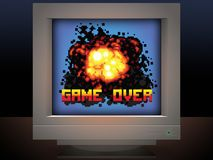 Game over explosion retro video game illustration Stock Photos