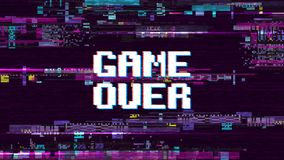 Game over fantastic computer background with glitch noise retro effect vector screen. Game over pixel display, video computer text illustration Vector Illustration