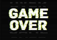 Game Over final phrase, message, inscription or lettering written with creative font on black background with damaged vector illustration