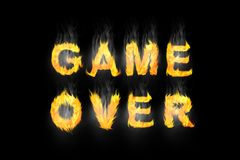 Game over fire text flame flames burn burning. Hot explosion Stock Photo