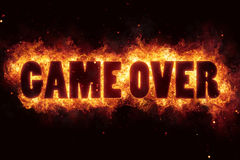 Game over fire text flame flames burn burning hot explosion. Explode Royalty Free Stock Images