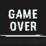 Game Over glitch text. Anaglyph 3D effect. Technological retro background. Vector illustration. Creative web template. Flyer, post. Er layout. Computer program stock illustration