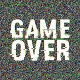 Game Over glitch text. Anaglyph 3D effect. Technological retro background. Vector illustration. Creative web template. Flyer, poster layout. Computer program Stock Images