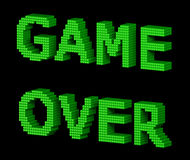 GAME OVER green text 2. GAME OVER text made of green glossy cubes isolated on black background. 3d illustration Royalty Free Stock Image