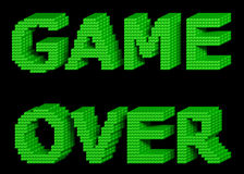 GAME OVER green text 3. GAME OVER text made of green glossy cubes isolated on black background. 3d illustration Stock Image