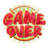 Game over message in vector cartoon style. Failure message, end sign, final game design, play game over illustration Stock Photos