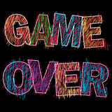 Game Over painted children`s style pencil, Royalty Free Stock Photos