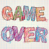 Game Over painted children`s style pencil, Royalty Free Stock Images