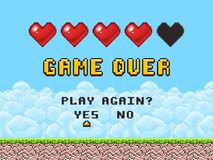 Game over pixel art arcade game screen vector illustration. Arcade retro banner, digital pixel 8-bit Stock Image