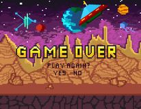 Game over pixel art design with space background and hearts. Pix vector illustration