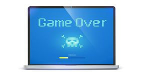 Game over, pixel text, skull and bones on screen. Laptop with message requiring attention. Retro style of TV or computer. Game , 3D illustration isolated on Royalty Free Stock Photos