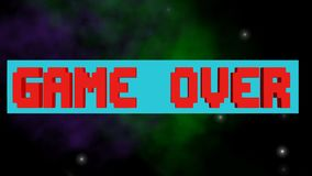 Game over, play again outro, pixelated lettering, rotating horizontal block, 3d animation on animated space background. With stars, nebula and meteorits, FullHD stock illustration