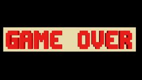 Game over, play again outro, pixelated lettering, rotating horizontal block, 3d animation on black background. FullHD video royalty free illustration