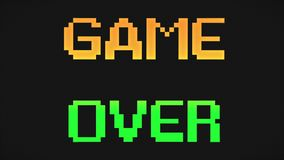 Game Over screen orange and green colors. Game over screen 8-bit retro video game style text, old arcade games animation, orange and green colors background - 4K royalty free illustration