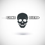 Game over, symbol with skull. Royalty Free Stock Images