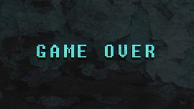 GAME OVER - text animation. With green letters over vintage wood background with peeling paint stock illustration