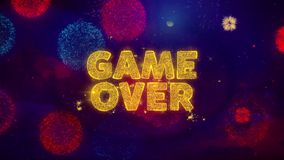 Game Over Text on Colorful Ftirework Explosion Particles. vector illustration