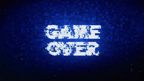 GAME OVER Text Digital Noise Twitch Glitch Distortion Effect Error Animation. GAME OVER Text Digital Noise Twitch and Glitch Effect Tv Screen Loop Animation stock illustration