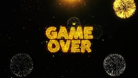 Game Over Text on Firework Display Explosion Particles. vector illustration