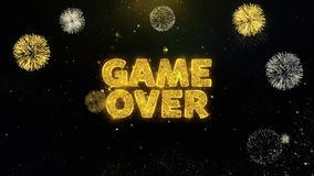 Game Over Text on Gold Particles Fireworks Display. vector illustration
