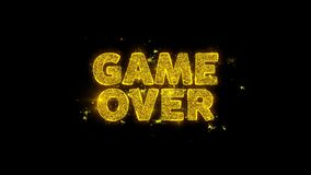 Game Over Text Sparks Particles on Black Background. stock video footage