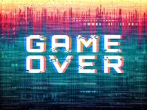 Game over text. Video game glitch. Color distortions and pixel noise. Digital error template. Retro vhs effect. Abstract. Bright design. Analog backdrop. Modern stock illustration