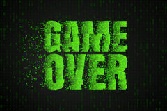 Game Over. The text on the video game screen. Gaming vector illustration. Stock Photo