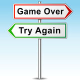 Game over and try again directional sign Stock Images