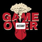 Game Over. Vector Hand Drawn Placard With Creative Illustration With Explosion Isolated. Stock Image
