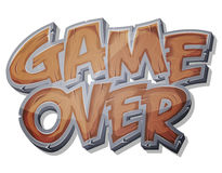 Game Over Wooden Icon For Ui Game. Illustration of a cartoon wood design game over icon for game user interface Royalty Free Stock Photo