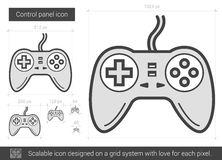 Game pad line icon. Game pad vector line icon isolated on white background. Game pad line icon for infographic, website or app. Scalable icon designed on a grid royalty free illustration